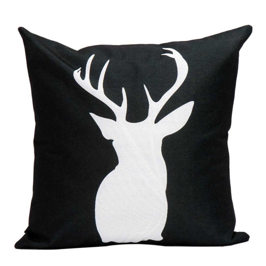 Hmlai Christmas Decorative Printing Pillowcases Elk Linen Pillow Sofa Waist Throw Cushion Cover Home Decor,45cmx45cm (A)