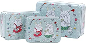 Christmas Rectangle Cookie Tins Set of 3 - Decorative Cookie Gift Tins, Extra Thick Metal - Large, Medium and Small Sizes (Owl)