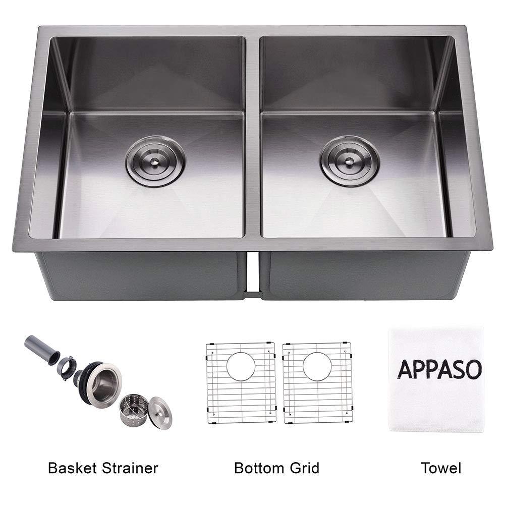 APPASO Silent PRO 32-inch 16 Gauge Stainless Steel 10 Inch Deep Undermount 50/50 Double Bowl Kitchen Sink
