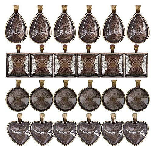 Ginooars Pack of 24 Sets-24Pcs All Antique Brass Color Round & Heart & Dropshape & Square Shape Cabochon Pendant Trays with 24 Pcs Glass Cabs ()