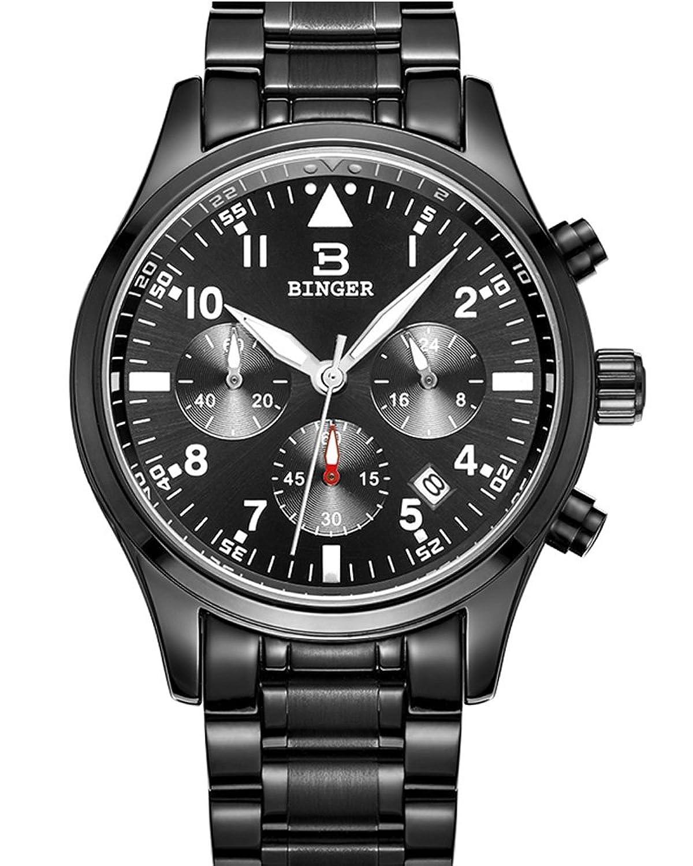 Binger Sport Herren-Quarz-Uhr mit schwarzem Zifferblatt Chronograph Display und Edelstahl-Armband (schwarz)