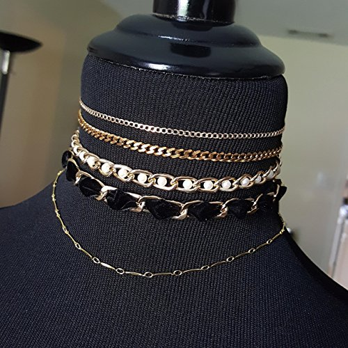 Gold Necklace Stack -Pearl, Velvet, Curb and Delicate Chokers and Layering Chain -