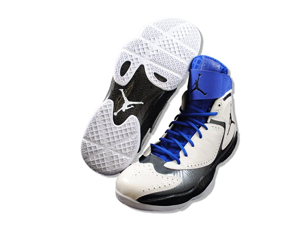 new concept cf7f5 ee8af Amazon.com   Nike Air Jordan 2012 E White Black Blue Old Royal Fly Though  Top Shoe 508319-181 [US size 10.5]   Basketball