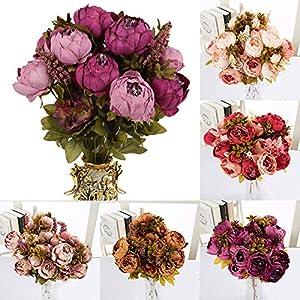 Alapaste Artificial Flowers,Fake Silk European Fall Peony Flowers Arrangements Wedding Bouquets Decorations Floral Table Centerpieces Decoration for Home Party Decor 5