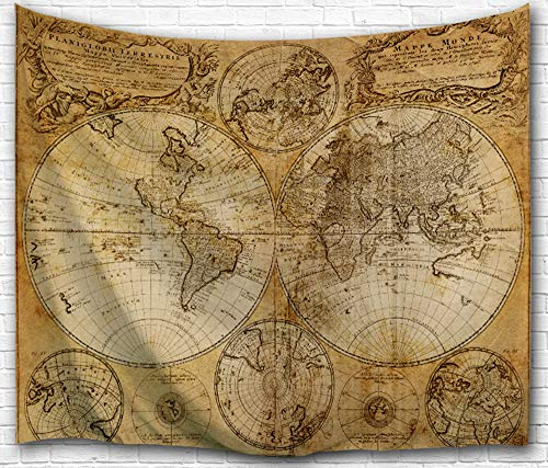 IMEI Antique World Map Wall Tapestry Hanging, Polyester Fabric 3D Vintage Nostalgic Design Wall Art Tapestries Home Decor for Living Room, Bedroom (80X60 Inch, Old Map) ()