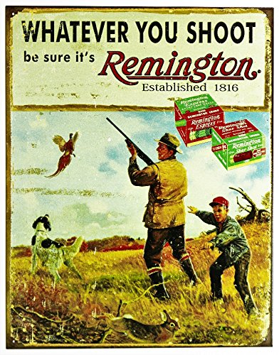 Remington Whatever You Shoot Rifle Hunting Tin Sign 13 x 16in