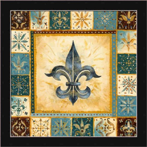 Fleur De Lis Pictures (Bleu Fleur de Lis II by Richard Henson Teal French 13.5x13.5 Framed Art Print Picture Wall Decor)