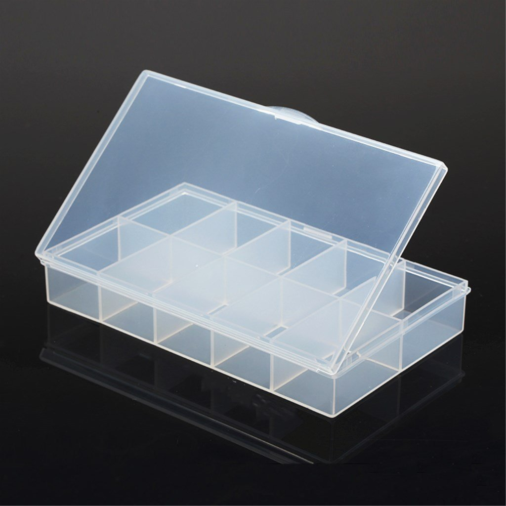 F Fityle Caja de almacenamiento plá stica impermeable del almacenamiento de la caja del dispositivo con 1 ranura 10 desprendible