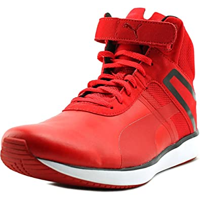 Big Deals Puma F116 Skin Mid Sf Round Toe Synthetic Basketball Shoe Mens Red Puma Mens Sneakers