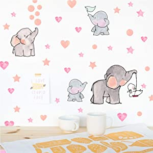 IARTTOP Adorable Elephant Wall Decal, Family Elephant with Love Heart Stars Wall Sticker, Baby Nursery Bedroom Decoration