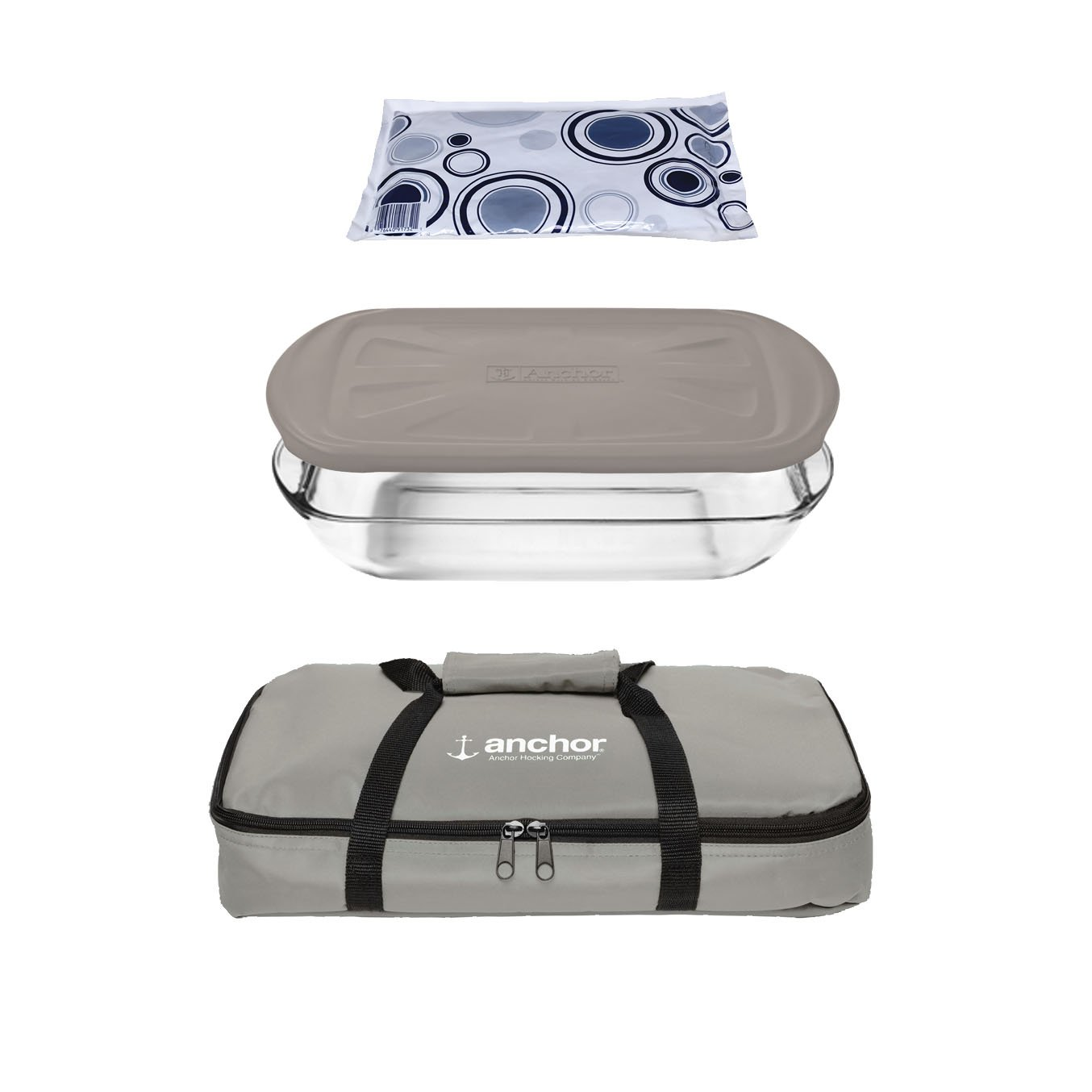 Anchor Hocking Oven Basics 4Piece Bake-N-Take Bakeware Set, Pepper Gray 12897ECOM