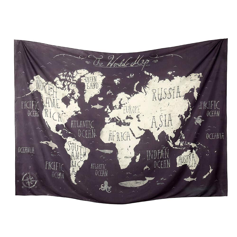 World Map Tapestry Wall Hanging Atlas Art Decor Dorm Large Vintage Geography Earth Globe Tapestries Hangings (Black and Gray, 59.1