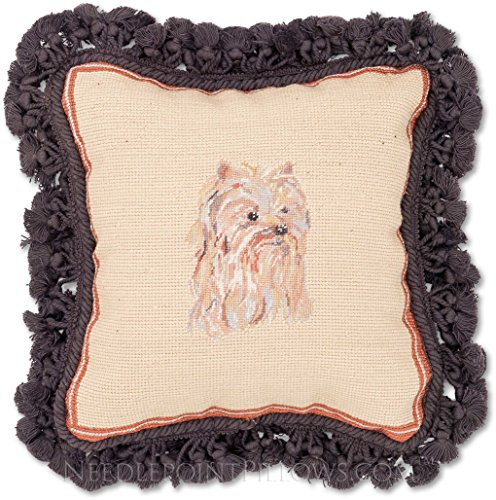 Handmade 100% Wool Needlepoint Yorkshire Terrier Yorkie Dog Throw Pillow. 12