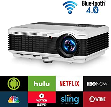 EUG 4600 Lumen Home Wireless Projector with WiFi Bluetooth HDMI 1080P Smart Video Projectors Airplay Android TV Proyector for TV Stick DVD Player USB ...