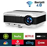 Wireless Bluetooth HDMI Projector 1080P Home Theater 2019 Smart Android 6.0 LCD LED Multimedia Video Projectors 3900 Lumen Outdoor WiFi Proyector for PC Laptop USB Driver TV Stick PS4 Wii Xbox