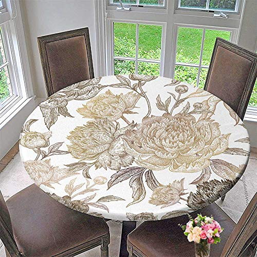 (PINAFORE HOME Round Table Tablecloth Vintage Flowers Peonies Branches Leaves Print g foil on a White Background Vector for Wedding Restaurant Party 35.5