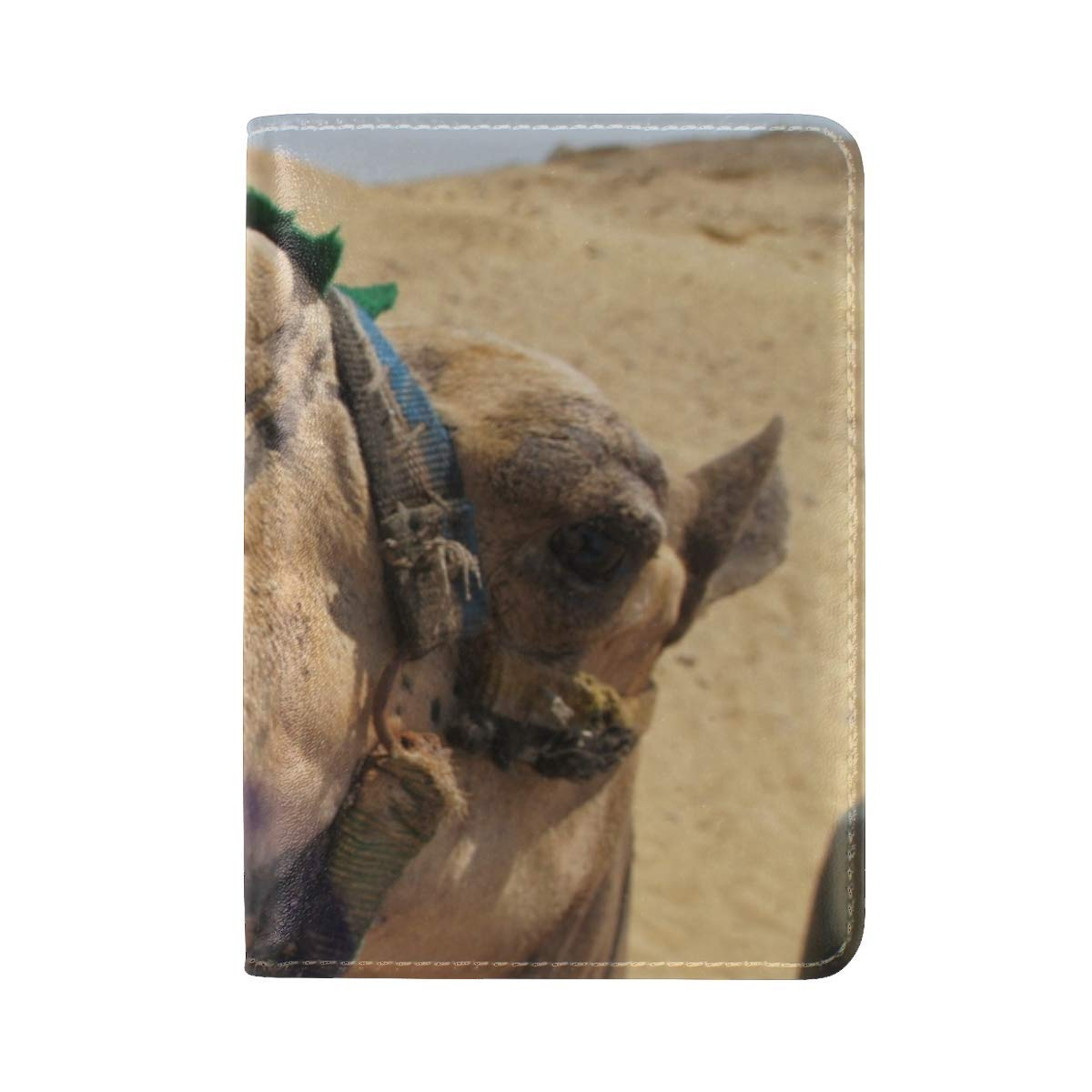 Camel Face Mouth Nose Desert Leather Passport Holder Cover Case Travel One Pocket