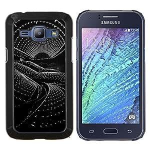 Arquitectura Ciencia Ficción Nave extranjera- Metal de aluminio y de plástico duro Caja del teléfono - Negro - Samsung Galaxy J1 / J100