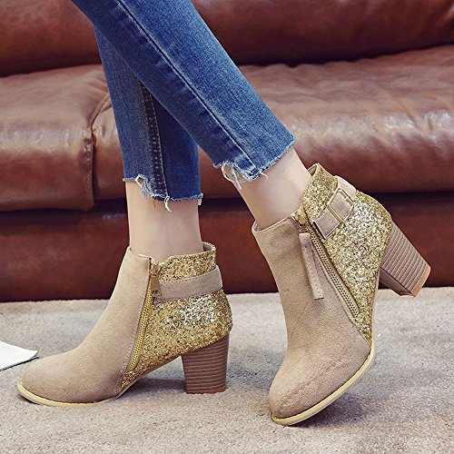 PENGYGY Ankle Boots Toe Side Khaki Mixed Boots Round Zipper Women Colors Thick Fashion High wUXar7Uq