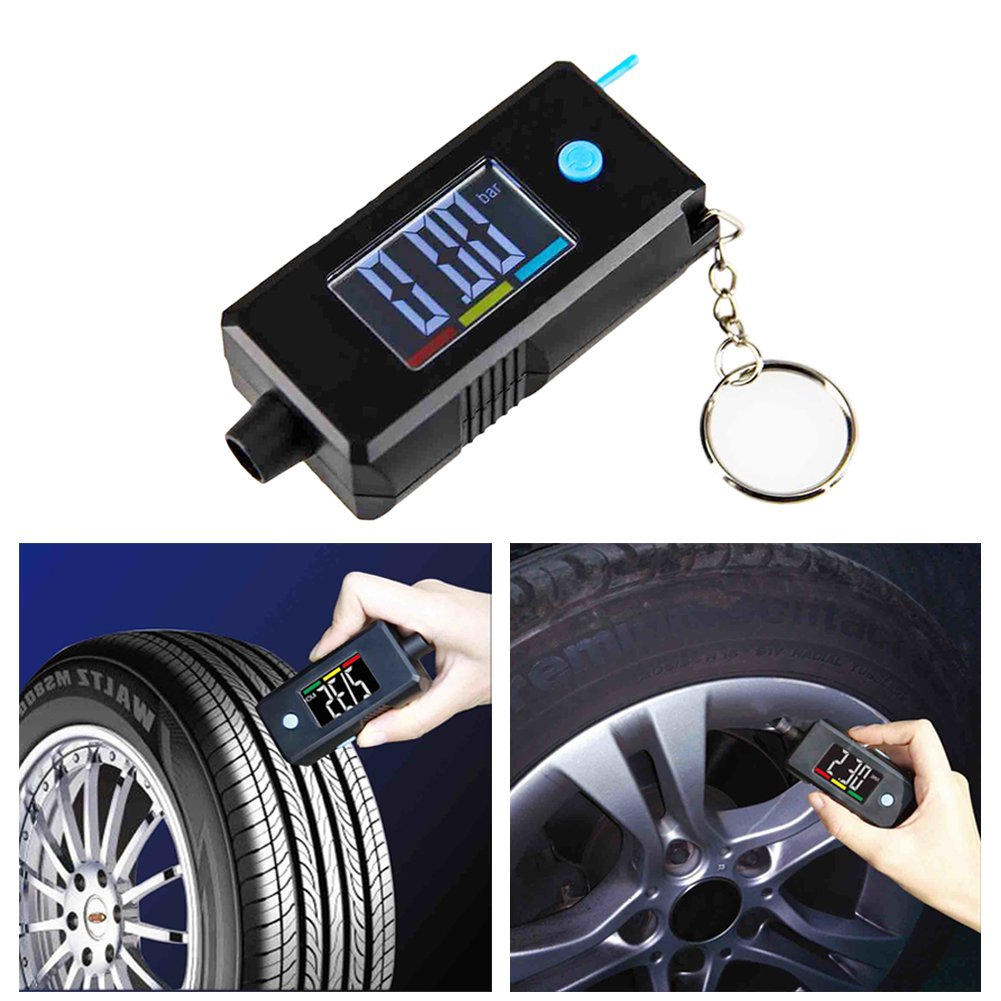 2-in-1 Mini Electronic Digital Display Tire Gauge Keychain Automobile High Precision Tread Depth Tire Pressure Gauge Has a Large LCD Display Screen with Luminous Function blue--net