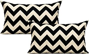 All Smiles 2-Pack Black Tan Decorative Throw Pillow Case Accent Cushion Covers Outdoor Suqare Cotton Linen 12x20 for Sofa Paito Couch Bed Room,Zig Zag