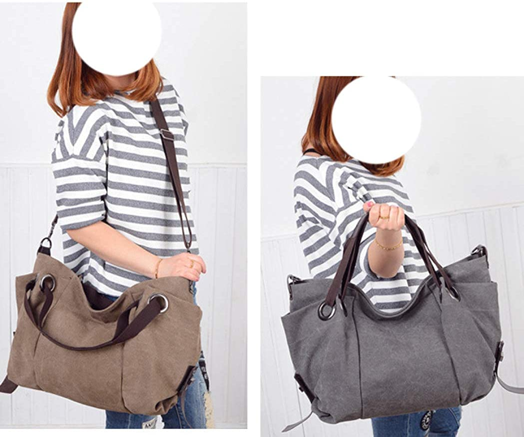 Womens Fashion Tote Bag Shoulder Canvas Large-Capacity Travel Handbags Vintage Casual Cross Body Purses