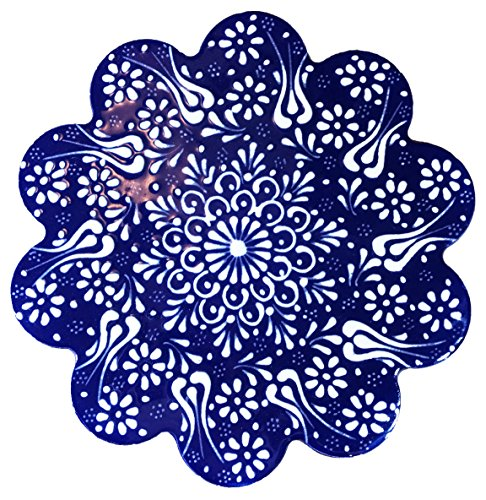 Hand-Painted Ceramic Pottery Tile Trivet Round Blue with White Flowers (Round Pottery)