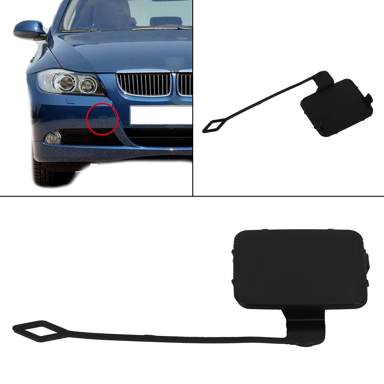 aochuang Front Bumper Tow Hook Cover Cap For E90 E91 2005-2008 318i 320i 328i 330i 335i Part number : 51117167575