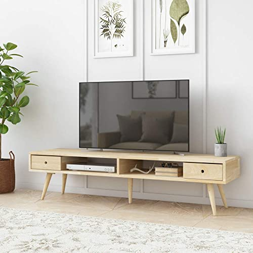 Domesis Mid Century Modern Wood TV Stand in Natural