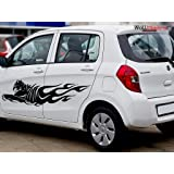 Wallmantra Pair Of Tiger Car Stickers/Self Adhesive Peel And Stick Diy Vinyl Car Graphics/Both Sides/Fits All Cars (152 Cm W X 35 Cm H,Black)