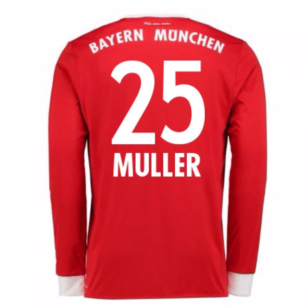 2017-18 Bayern Munich Home Long Sleeve Football Soccer T-Shirt Trikot (Thomas Muller 25)