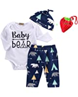 Unisex Toddler Infant Newborn Girl Boy Baby Bear Romper Pants 3pcs Outfits Set