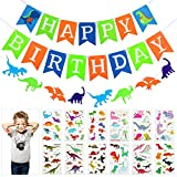 Jetec Green Dinosaur party set, Happy Birthday Banner with White Letters, Colorful Felt Dinosaur Garland, 12 Sheets Dinosaur Temporary Tattoos, Dino Jungle Jurassic Boy's Party Decoration Supplies