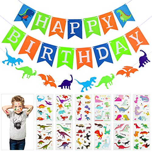 Jetec Green Dinosaur party set, Happy Birthday Banner with White Letters, Colorful Felt Dinosaur Garland, 12 Sheets Dinosaur Temporary Tattoos, Dino Jungle Jurassic Boy's Party Decoration Supplies by Jetec