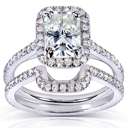 Near-Colorless (F-G) Moissanite Bridal Set with Diamond 1 3/5 CTW 14k White Gold, Size 10.5 - Rectangular Diamond Set