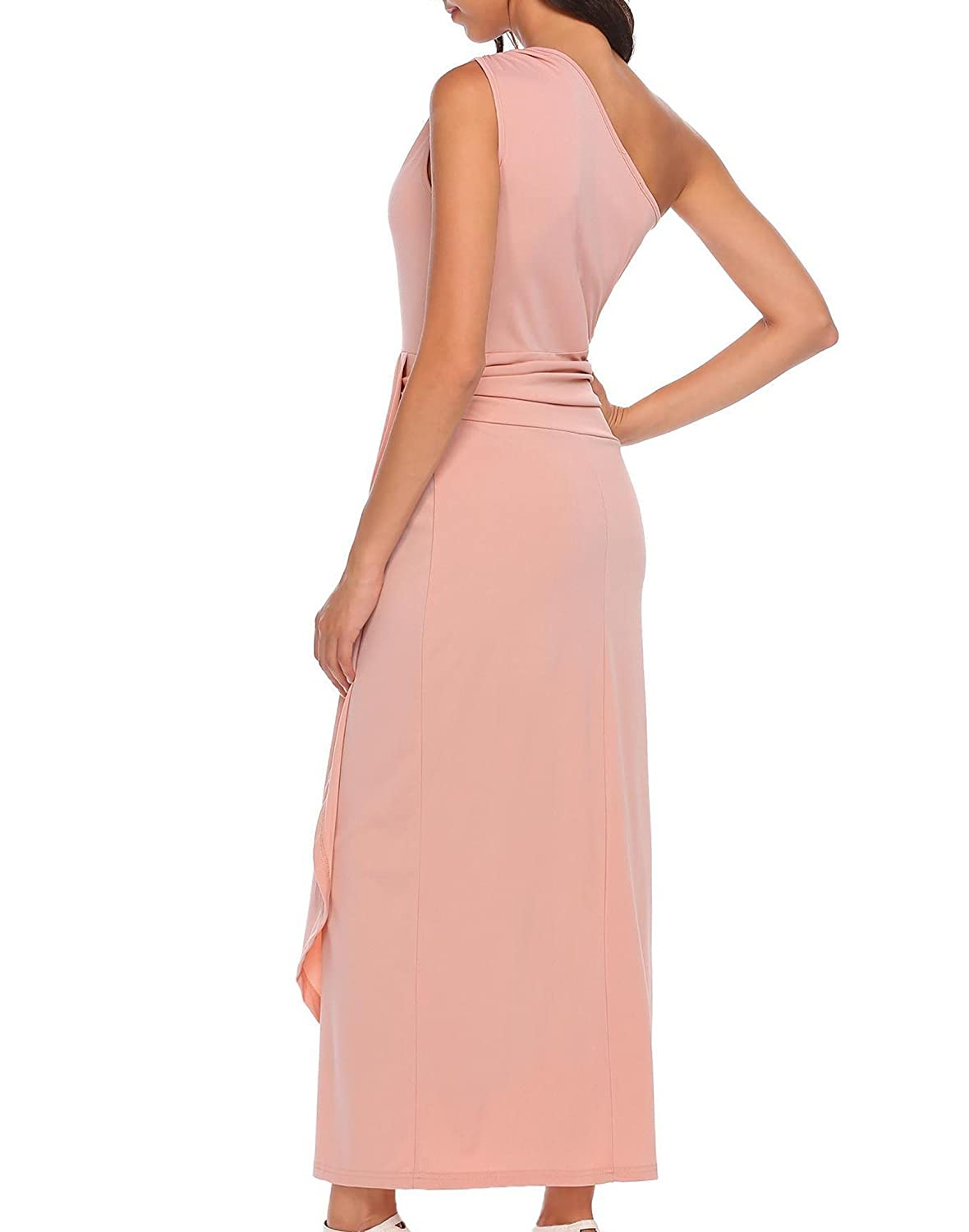Meaneor Womens One Shoulder Draped Waist Ruched wrap Evening Formal Ball Dress: Amazon.co.uk: Clothing