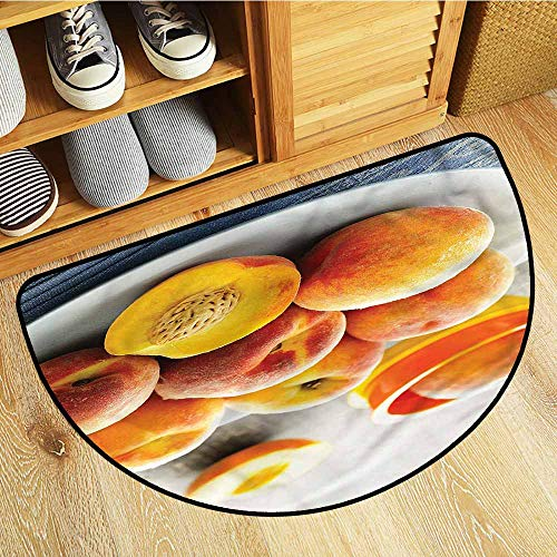 (Beihai1Sun Half Round Rubber Doormat Peach Horticultural Crops Plate Anti-Slip Doormat Footpad Machine Washable 29