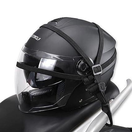 ZHUOTOP Correa elástica para casco de motocicleta (2 ganchos), color negro