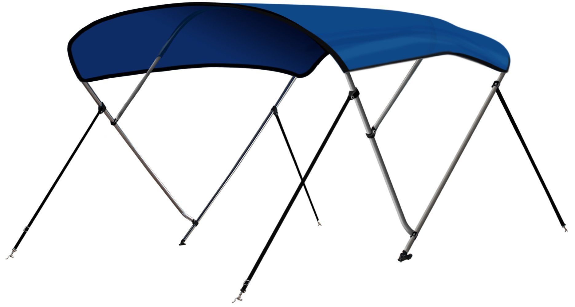 Leader Accessories 3 Bow Pacific Blue 6'L x 46'' H x 73''-78'' W Bimini Top Boat Cover 4 Straps for Front and Rear Includes Mounting Hardwares with 1 Inch Aluminum Frame by Leader Accessories