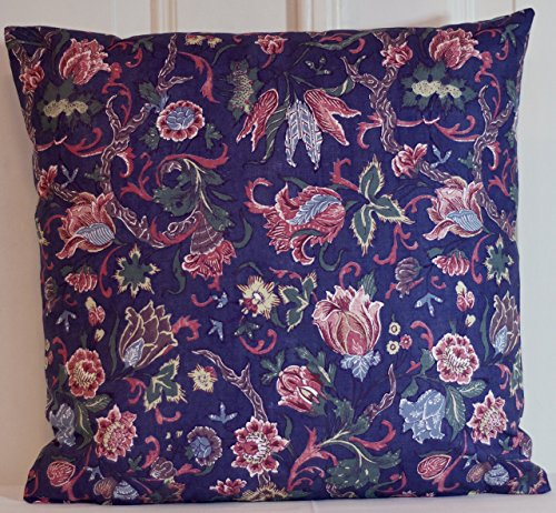 Handmade Dutch Heritage Chintz Pillow Cover navy blue red light blue and green Floral Throw Cushion - pick your size