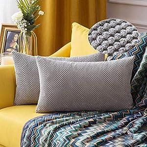 MIULEE Housses de Cousssin en Polyester Doux Granulés Carré Taies d'oreiller avec Granules décoratifs Solid pour Canapé…