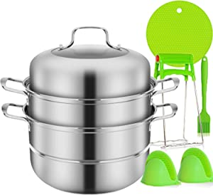 Stainless Steel Steamer Set, KOZMICC 3-Tier/Layer Steamer cooking pot, Double Boilder, stack, steam soup pot and steamer with Pressure Cooker Accessories - Saft and Durable