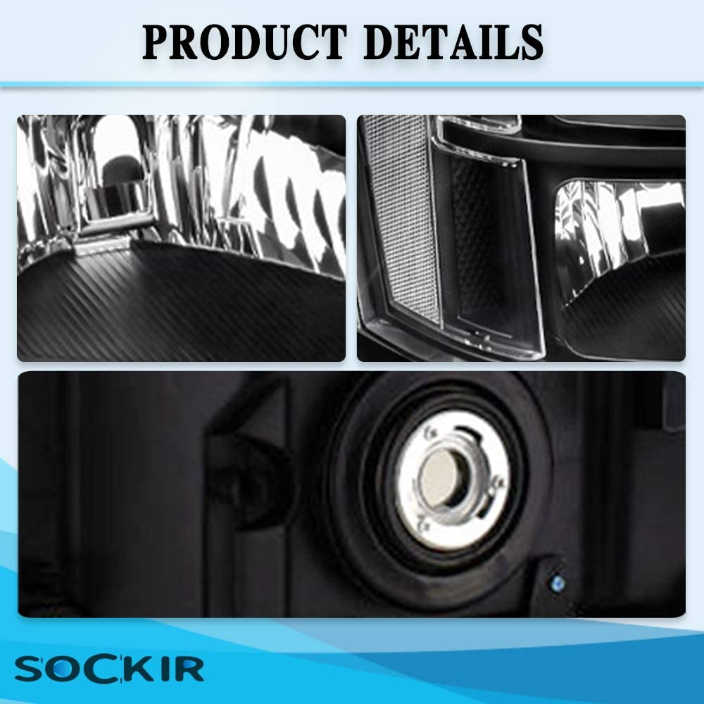Headlight Assembly Set Compatible with 2007-2013 GMC Sierra 1500//2007-2014 GMC Sierra 2500HD 3500HD Black Sealed Headlamp Passenger and Driver Side Black