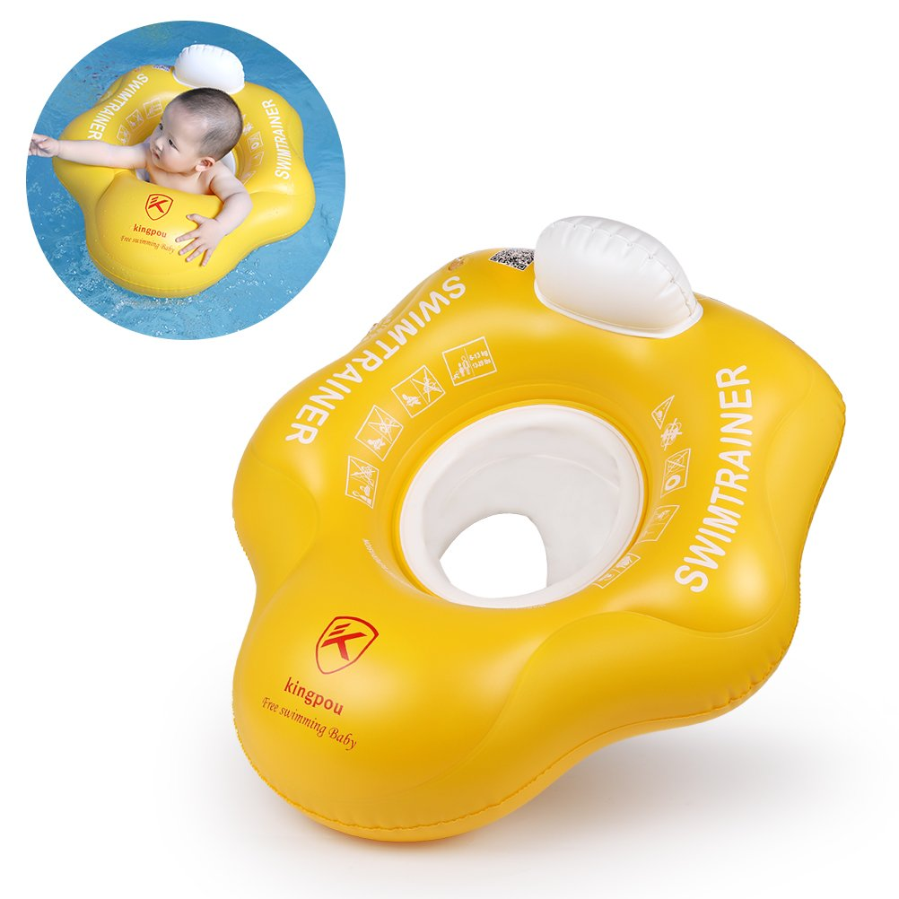Free Swimming Baby Inflatable Swimming Ring Underarm Seat Float Trainer with Backrest and Seat (Yellow, L)
