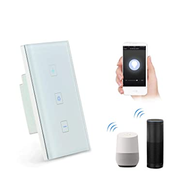 Teepao Smart Dimmer Switch, Wireless WiFi Touch Dimmer Wall Panel  Compatible with Alexa/Google Home/iOS Android APP Remote Control, Timing  Function,