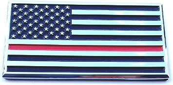 Firefighter Thin Red Line Flag Chrome Auto Emblem