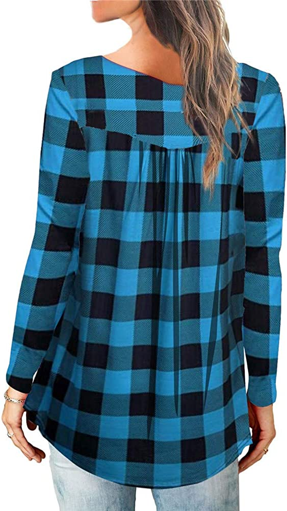 Imbry Womens Long Sleeve Button up Loose Shirts Printed Ruffle Casual Blouse Tunic Tops