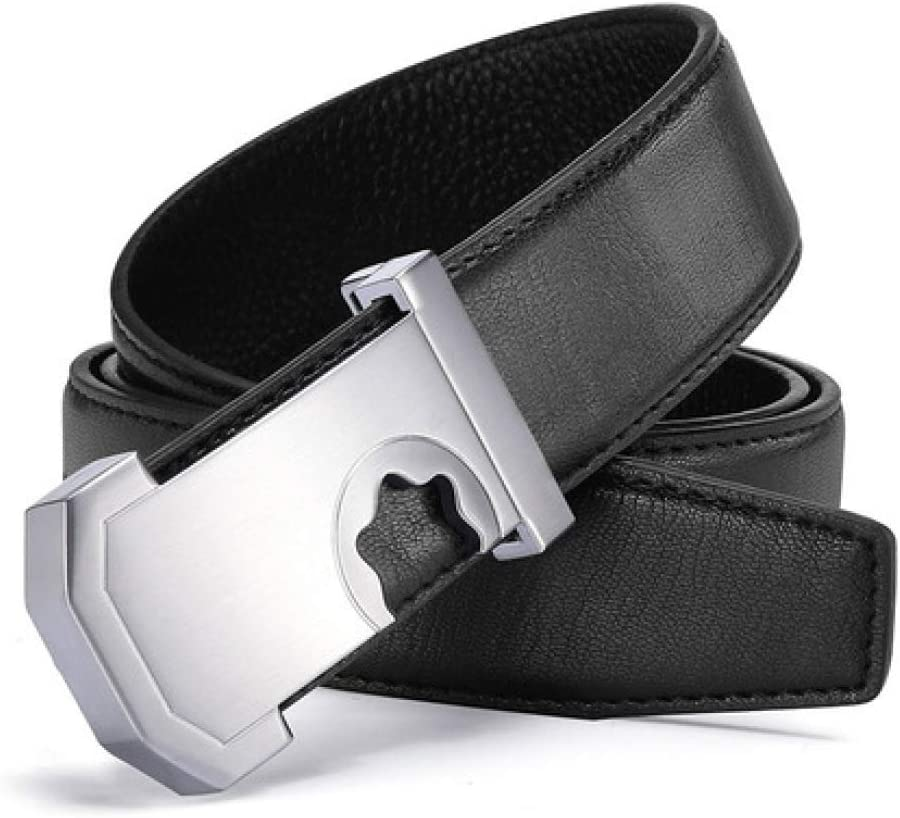 DENGDAI Mens Belts,Leather Belt,Belts for Mens Leather,Leather Youth Smooth Alloy Buckle Belt Buckle Student Belt