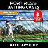 FORTRESS 42 Poly Twine and 1 3/4-Inch Square Hung Mesh Baseball Batting Cage Net (8' x 8' x 20')