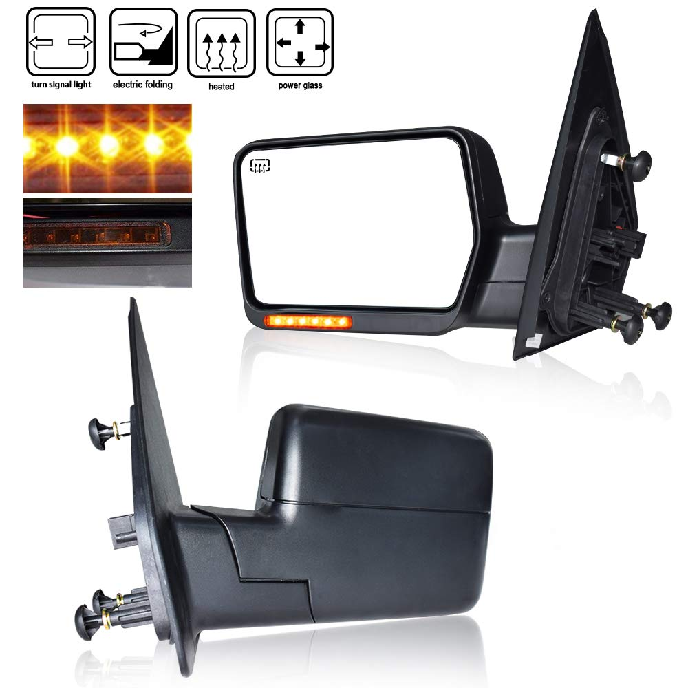 4XBEAM DOT Approved Right Door Mirror Passenger Side View Mirror Towing Mirrors Power Heated Led Front Signals Black Heated W/Yellow Signal For 2004 2005 2006 2007 Ford F150